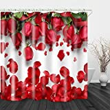 Red Fire Waterproof Fabric shower Curtain Liner Digital Printing Covered Bathtub Bathroom Shower Curtains Rose Flower includes 12 Anti rust Hooks 71 x 78.5 Inch