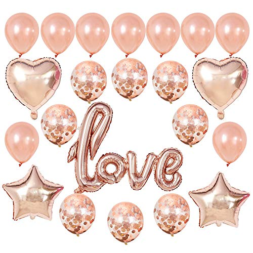 GOER I Lou You Foil Balloons,23 Pcs Champagne Gold Balloon Set for Valentine's Day Propose Weedding Decorations Party Supplies ()