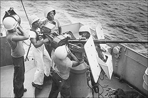 Gun Crew Stands - Dmxplus Original Poster 16 x 24 Inch Wall Decor Five Steward'S Mates Stand at Their Battle Stations, As A Gun Crew Aboard A Coast Guard-Manned Frigate in The Southwest Pacific 1945
