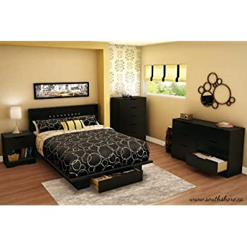 South Shore Trinity Collection Platform Bed with Drawer, Pure Black