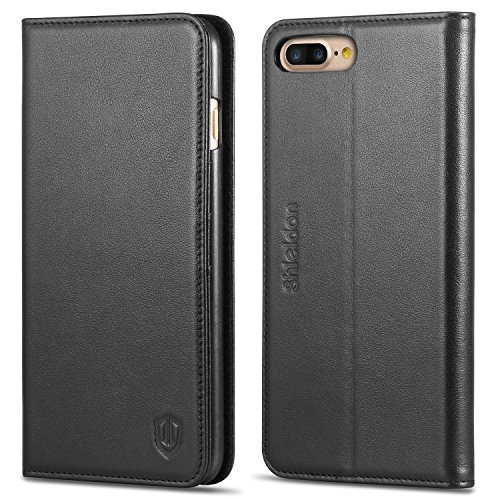 iPhone 7 Plus Case, SHIELDON Genuine Leather iPhone 7 Plus Wallet Case Book Design with Flip Cover and Stand [Credit Card Slot] Magnetic Closure Cover Case for Apple iPhone 7 Plus - Black