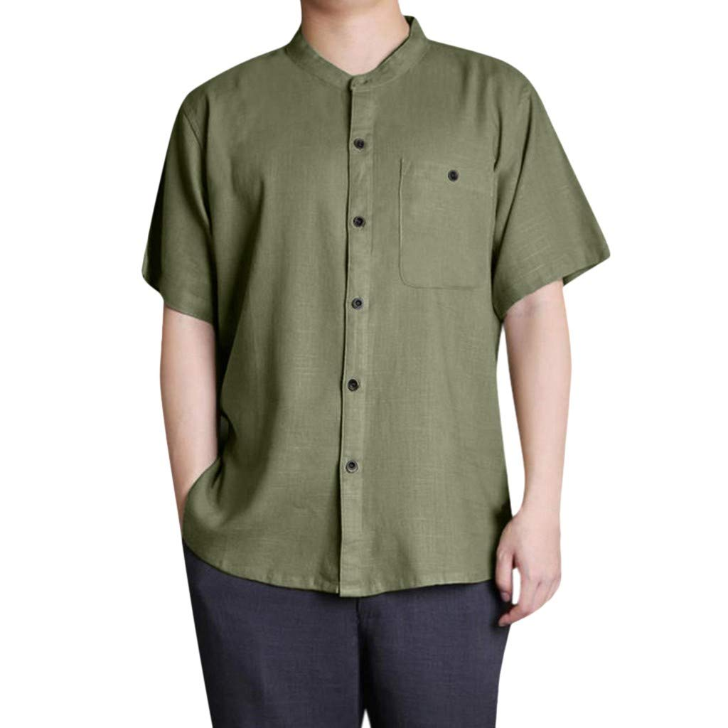 Kamao Comfortable Short Sleeve Shirts for Men with Pocket Mens Baggy Cotton Linen Solid Button Short Sleeve
