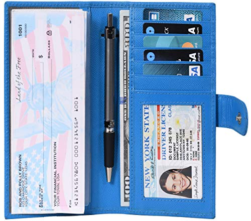 Checkbook Covers for Men and Women - Leather RFID Blocking Standard Check Holder