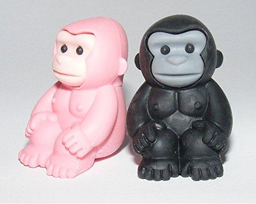 Iwako Safari Animals - Pink and Black Gorilla Japanese Erase
