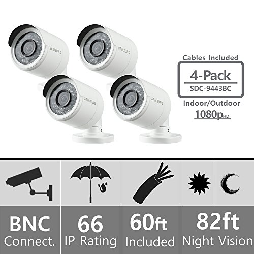 (Set of 4) Samsung SDC-9443BC 1080p HD Weatherproof Bullet Camera (Compatible with SDH-B74041 & SDH-B74081)