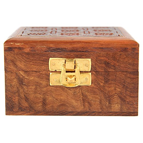 Indian Jewelry Holder - 4 x 4 x 2.25 Inch Small Wood Box - Jewelry Boxes for Bracelet - Present for Her by ShalinIndia (Image #2)