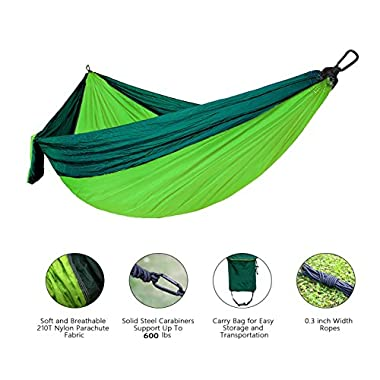 "Outdoor Hammock Portable Outfit Parachute Suspension Nylon Large Double Lightweight Hammock with Carabiners and Ropes for Backpacking, Camping, Hiking, Travel, Yard, 106""55"" (WSTECHCO)"