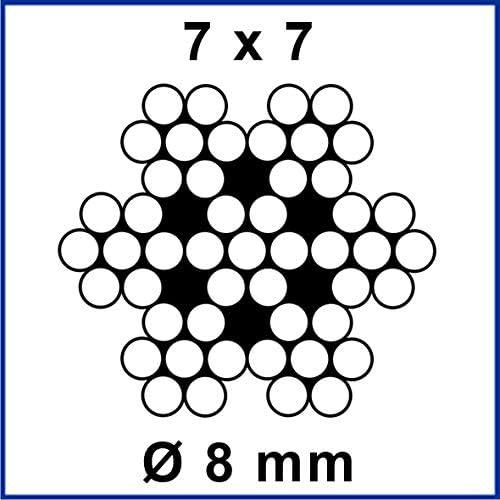 7x7 EDELSTAHL Drahtseil /Ø = 10,0 mm Stahlseil A4 rostfrei Edelstahldrahtseil V4A INOX Seil Draht Stahl Niro Edelstahlseil Edelstahl V4A, 40 Meter