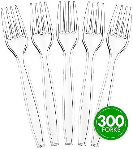 Plasticpro 使い捨て 透明 プラスチック カトラリー 使い捨て キッチン用品 厚手 Forks