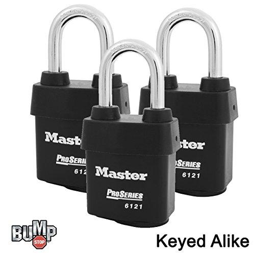 - Master Lock - Three (3) High Security Pro Series Padlocks 6121NKALF-3 w/BumpStop Technology