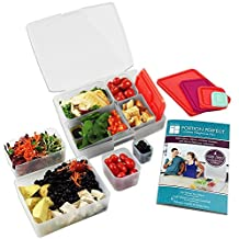 Bentology - Bento Lunch Box with Weight Loss Plan Booklet - Portion Control Container Kit - Clear/Melon by Bentology