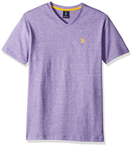 (U.S. Polo Assn. Men's Short Sleeve V-Neck Solid T-Shirt, Purple Prince XL)