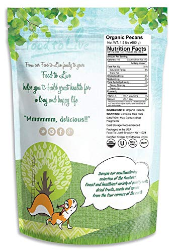 Food to Live Organic Pecans (Raw, No Shell, Kosher) (1.5 Pounds) by Food to Live  (Image #1)