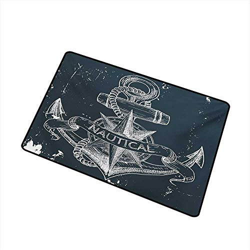 - Becky W Carr Marine Welcome Door mat Nautical Knot Compass Anchor Pattern Sea World Ocean Life Grunge Illustration Door mat is odorless and Durable W29.5 x L39.4 Inch,Dark Blue White