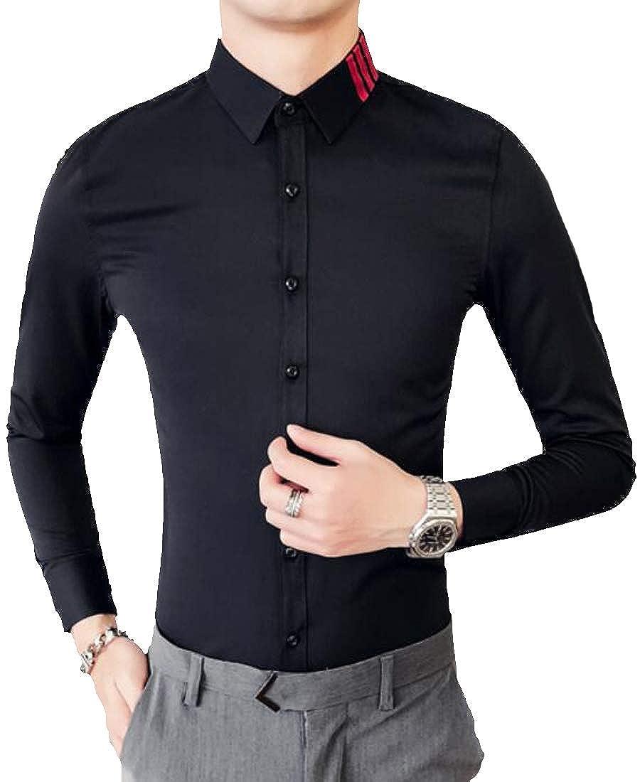 ARTFFEL Mens Long Sleeve Club Hair Stylist Work Contrast Color Slim Fit Button Down Shirts Tops