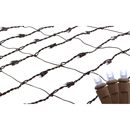 2' x 8' Pure White LED Net Style Tree Trunk Wrap Christmas Lights - Brown Wire (Light Sq Wrap)