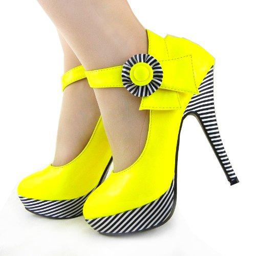 Flor Historia Sexy Plataforma Amarillo Raya Tobillo Correa Lf30404 De Mostrar Zapatos Bombas Estilete 5qAdEFxnxw