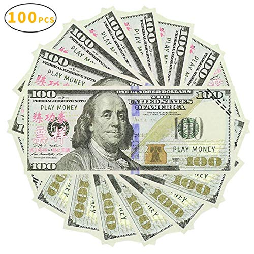 UPSTONE 100pcs Play Money 100 Dollar Bills Prop Money Realistic Copy Paper Money, Total of $10,000 Copy Money Full Print 2 Sided for Movie, Pranks, Games, Monopoly, Birthday Party, Play Board Games