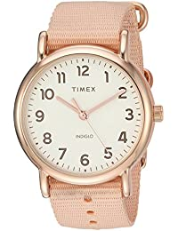 Womens TW2R59600 Weekender 38 Pink/Rose Gold-Tone Nylon Slip-Thru Strap Watch