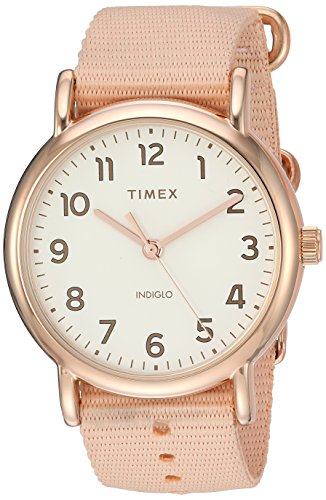 (Timex Women's TW2R59600 Weekender 38 Pink/Rose Gold-Tone Nylon Slip-Thru Strap Watch)