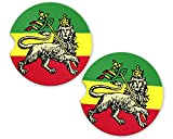 Rasta Rastafarian Haile Selassie I Lion Flag Custom Car Coasters Cup Holder Matching Coaster Set