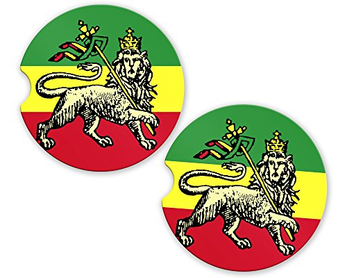 Rasta Rastafarian Haile Selassie I Lion Flag Custom Car Coasters Cup Holder Matching Coaster Set by BrownInnovativeMedia