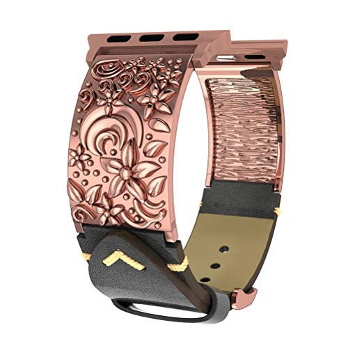 Compatible with Apple Watch Bands 38mm 40mm Women Men, Vintage Genuine Leather Compatible with iWatch Bands, Handmade Wristband Compatible with iWatch Series 4,3, 2, 1 (Vintage Gold 38mm 40mm) ()