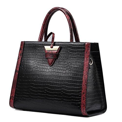 en Top les de main poignée femmes QI cuir WANG à crocodile en luxe Sacs sacs pour Noir peau de en de vache à noir relief main véritable qwq8IOv