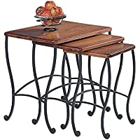 Coaster Nesting Tables, Black Iron Base Frame with Rustic Oak Wood, 3-Piece Set