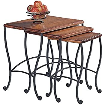 Coaster Nesting Tables Black Iron Base Frame with Rustic Oak Wood 3-Piece  sc 1 st  Amazon.com & Amazon.com: Coaster Nesting Tables Black Iron Base Frame with ...