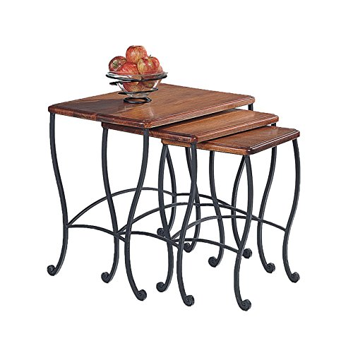 Coaster Nesting Tables, Black Iron Base Frame with Rustic Oak Wood, 3-Piece Set (Table Frame Iron)