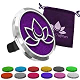 Car Diffuser Vent Clip - Aromatherapy Essential Oil Air Freshener Diffusers Improve Air Quality, Motion Sickness & Promote Calm Driving. Lotus Flower Stainless Steel Locket & 12 Bonus Oils Felt Pads.