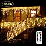 B-right 480 LED Icicle Lights, 32.8ft x 2.6ft Window Curtain Lights Plug in Remote 29V 8 Modes Icicle Christmas Lights for Home Garden Bedroom Wedding Party Outdoor Indoor Wall Decorations, Warm White