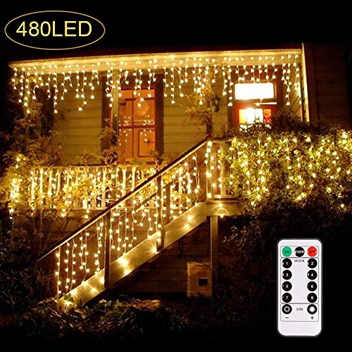 B-right 480 LED Icicle Lights, 32.8ft x 2.6ft Window Curtain Lights Plug in Remote 29V 8 Modes Icicle Christmas Lights for Home Garden Bedroom Wedding Party Outdoor Indoor Wall Decorations, Warm White ()