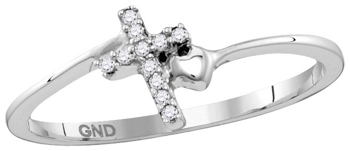 Size 8 - 925 Sterling Silver Round Diamond Delicate Slender Cross Faith Ring 1/20 Cttw