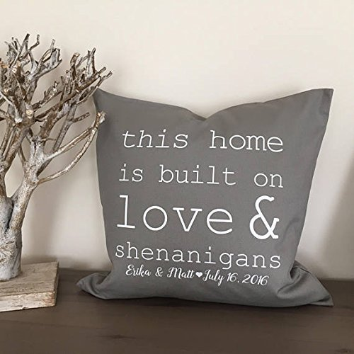 Custom Personalized Love and shenanigans pillow cover, anniversary present, ampersand decoration, this home is built on love and shenanigans, Home Décor, Christmas Gift, Wedding Pillowcase