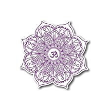 "#10629 Mandala Flower Purple with OM Symbol Sticker Decal for Car, Motorcycles, Windows, Laptops, Walls and More (4"")"