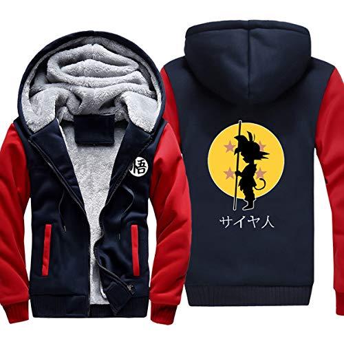 ELEFINE Boys Men's Fleece Thick Hoodies Cosplay Dragon Ball Z Super Saiyan Zip Jacket Navy&Red XL -