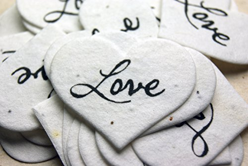Love Heart Shape Seed Embedded small Cotton Handmade Paper Tags (set of 50)