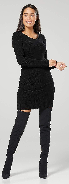 HAPPY MAMA Mujer Maternidad Punto Mini Vestido Jersey Cuello Redondo 1095