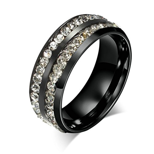 ANAZOZ 8MM Stainless Steel 2 Rows Full Crystal Channel Set Eternity Wedding Promise Rings Size 8 ()