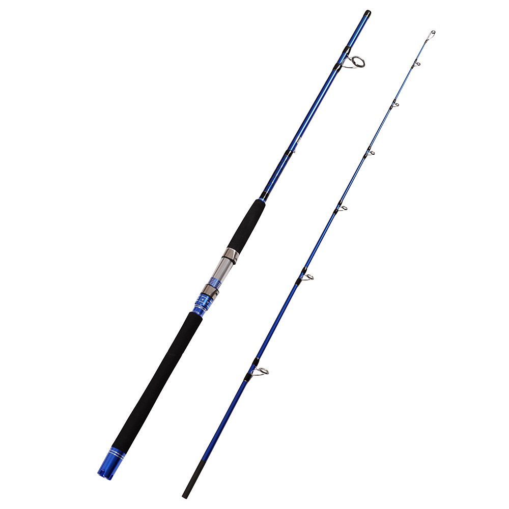 Fiblink 2 piece saltwater spinning rod heavy spin rod for Heavy fishing rod