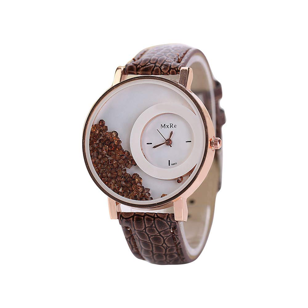 Eduavar Womens Watches Sale Clearance Women Quicksand Rhinestone Analog Quartz Watch Fashion Wrist Watch Casual Business Bracelet Watches Gift Round Dial Case Leather Band Watches