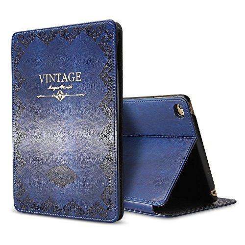 iPad Mini 4 Case Like a Book Cover, Miniko(TM) iPad Mini 4 Case Fashion Vintage Premium PU Leather Cover W/ Magnet Design Flip Case with Auto Sleep/Wake up Dark Blue (Ipad 2 Mini Vs Ipad 4 Mini)