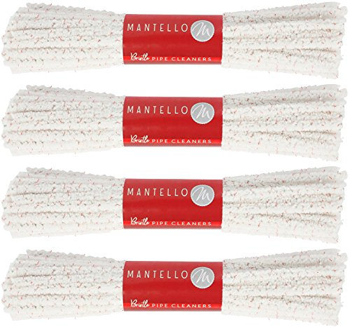 Mantello Pipe Cleaners Hard Bristle, 4 Bundles, 176 Count (2 Pipe Dimensions)