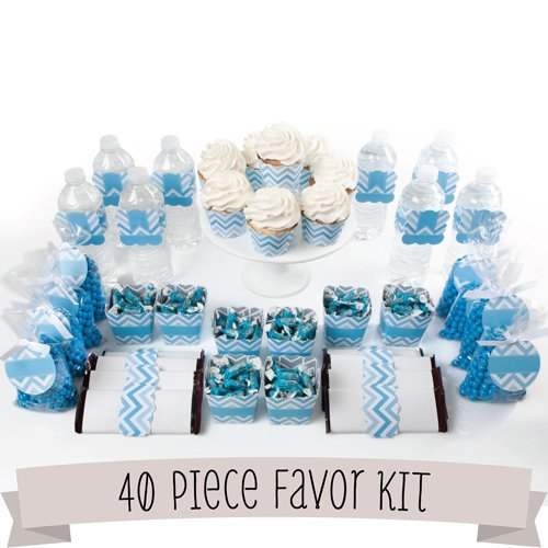 Baby shower party favors amazon chevron blue diy party favors kit 40 piece decoration set negle Images