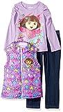 Nickelodeon Little Girls' Dora 3 Piece Heart Nylon Vest Set, Purple, 3T