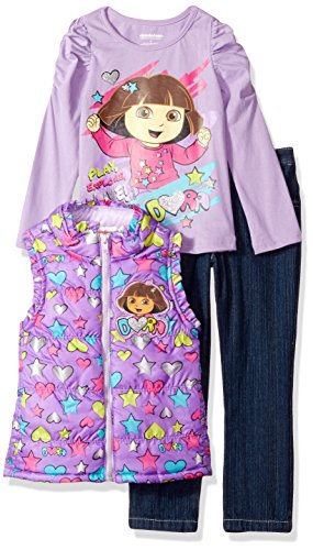 Nickelodeon Little Girls' Dora 3 Piece Heart Nylon Vest Set, Purple, ()