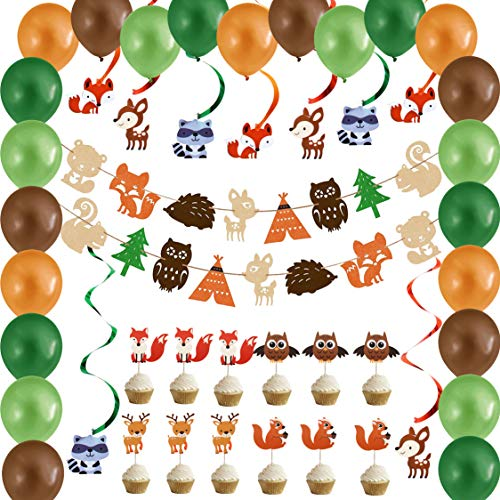 Woodland Creatures Party Supplies Decorations for Baby Shower, Forest Animal Themed Birthday and Nursery Decor for Boys and Girls