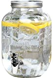 Estilo EST3071 Glass Beverage Drink Dispenser With Leak Free Spigot, 1 Gallon, Clear
